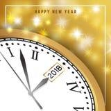 Bakgrund 2018 för lyckligt nytt år med klockan och snöflingan Lyckligt H Arkivfoto