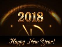 Bakgrund för lyckligt nytt år med magisk guld- minut för klockanedräkning fem Guld- nummer 2018 Ljus för design för julnatt Arkivbild