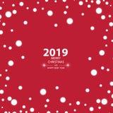 Bakgrund 2019 för lyckligt nytt år med snö, vektorillustration royaltyfri illustrationer