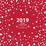 Bakgrund 2019 för lyckligt nytt år med snö, vektorillustration stock illustrationer