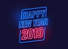 Bakgrund 2019 för lyckligt nytt år för neonstil royaltyfri illustrationer