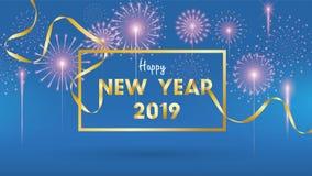 2019 bakgrund för lyckligt nytt år för säsongsbetonad reklamblad- och för hälsningskort eller inbjudanbakgrund med fyrverkerier e vektor illustrationer