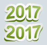 Bakgrund 2017 för lyckligt nytt år Vektorsymbol 2017 Krökt tecken från pappers- klistermärkear royaltyfri illustrationer