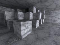 Bakgrund för mörkt rum för arkitektur för abstrakt begreppkuber konkret Arkivfoto