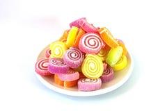 Bakgrund för marshmallowefterrättvit Royaltyfri Fotografi