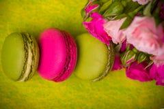 bakgrund för mat för makron för bärvårfärg Arkivbilder