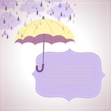 Bakgrund för meddelanden med ett gult paraply Arkivfoto