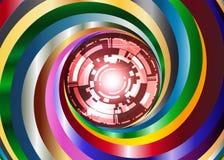 Bakgrund för metallfärgvirvel med den digitala röda ögonroboten Royaltyfri Foto