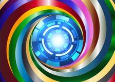 Bakgrund för metallfärgvirvel med den digitala roboten för blått öga Royaltyfri Fotografi