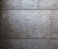Bakgrund för metallharneskplattor Arkivfoto