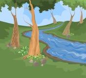 Bakgrund för miljö- och flodliten viknatur Arkivbilder