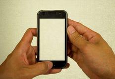 Bakgrund för Mobilephoneteknologitappning Arkivfoton