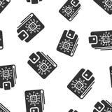 Bakgrund för modell för Digital plånboksymbol sömlös Crypto påsevektorillustration Online-finans, e-kommers symbolmodell royaltyfri illustrationer