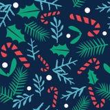 Bakgrund för modell för glad jul för tappning och för lyckligt nytt år sömlös vektor illustrationer