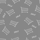 Bakgrund för modell för grå shoppingspårvagn sömlös Arkivbild