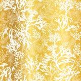 Bakgrund för modell för guld- och vit havsväxttextur för vektor sömlös Utmärkt för elegant grått tyg, kort som gifta sig stock illustrationer