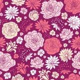 Bakgrund för modell för purpurfärgade rosa färgblommakonturer sömlös Royaltyfri Bild