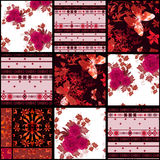 Bakgrund för modell för textur för röda rosor för patchwork retro blom- Arkivfoton