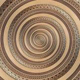 Bakgrund för modell för fractal för bronskoppargeometrisk abstrakt prydnadspiral Form för virvel för bakgrund för effekt för meta Arkivfoton