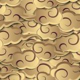 Bakgrund för modell för guld- spiralt argt lättnadsmoln för kurva sömlös vektor illustrationer