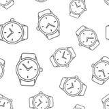 Bakgrund för modell för klockaklocka sömlös Plan vektor il för affär Royaltyfri Fotografi