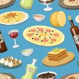 Bakgrund för modell för kokkonst för tecknad filmItalien mat som hemlagad sömlös lagar mat den nya traditionella italienska lunch royaltyfri illustrationer