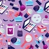 Bakgrund för modell för kosmetisk makeup för skönhet sömlös royaltyfri illustrationer