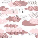 Bakgrund för modell för repetition för rosa moln för klotter för vektor hand dragen sömlös Göra perfekt för ungedräkt, tyg, hem-  vektor illustrationer