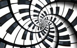 Bakgrund för modell för spiral för fractal för abstrakt begrepp för musik för pianotangentbord utskrivaven Svartvit pianorundaspi royaltyfri illustrationer