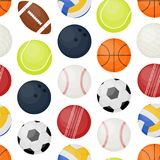 Bakgrund för modell för sportbollar sömlös vektor royaltyfri illustrationer