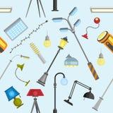 Bakgrund för modell för utomhus- och hem- ljus elektrisk utrustningvektor för lampor för gata sömlös vektor illustrationer
