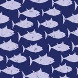Bakgrund för modell för vektor för blåa fiskkonturer sömlös djur Bekymrad tappningstil för nautisk utdragen illustration vektor illustrationer