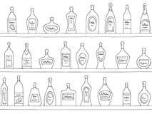 Bakgrund f?r modellen f?r hylladiagrammet skissar svart vit s?ml?s illustrationvektorn royaltyfri illustrationer