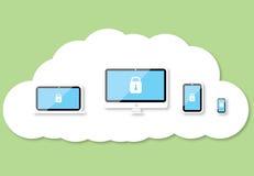 Bakgrund för moln för säkerhetsteknologi Arkivfoton