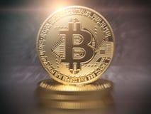 Bakgrund för mynt för Bitcoin cryptocurrency guld- Fotografering för Bildbyråer