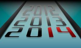 Bakgrund för nytt år i stilen av bowlinggränder med datumet Arkivfoton