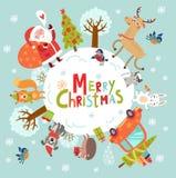 Bakgrund för nytt år för jul med jultomten och älskvärda tecken Royaltyfria Foton