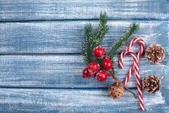 Bakgrund för nytt år med bär och med julkottar Arkivbild