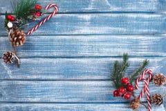 Bakgrund för nytt år med bär och med julkottar Arkivfoto