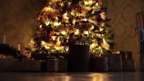 Bakgrund för nytt år med gåvor och blinkande girland på trädet stock video