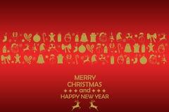Bakgrund 2019 för nytt år med guld- diagram, julleksaker, godis, jultomten, stearinljus på röd bakgrund Sammansättning 2019 för n fotografering för bildbyråer