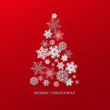 Bakgrund för nytt år med julgranen som göras av pappers- snöflingor Arkivfoton