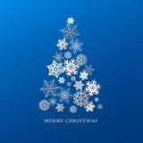 Bakgrund för nytt år med julgranen som göras av pappers- snöflingor Arkivbild
