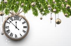Bakgrund för nytt år 2018 med klockan Arkivbilder