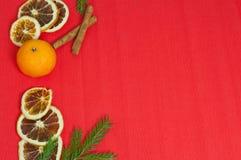 Bakgrund för nytt år med mandariner och kanelbruna apelsiner Arkivfoton