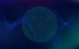 Bakgrund för oändligt utrymme för vektor, abstrakt futuristiskt hyperspace universum, science fictionteknologier Arkivbilder