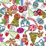 Bakgrund för objekt för för klotterstilparti eller beröm sömlös Inkluderar gåvor, noisemakers, garnering och konfettier vektor illustrationer