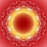 Bakgrund för orange guling för Mandalacirkelrunda röd Arkivfoto