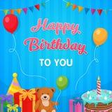 Bakgrund för parti för lycklig födelsedag med kakan, docka, illustration för gåvaask malldesign royaltyfri illustrationer