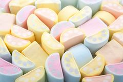 Bakgrund för pastellfärgade färger av färgrika marshmallower i växande sh Royaltyfria Foton